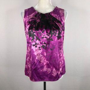 Elie Tahari Silk Tank Top Small Purple Black Pink